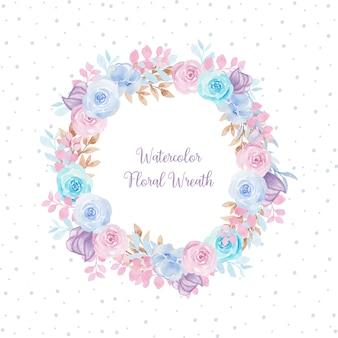 Magnífico marco floral acuarela con flores de colores