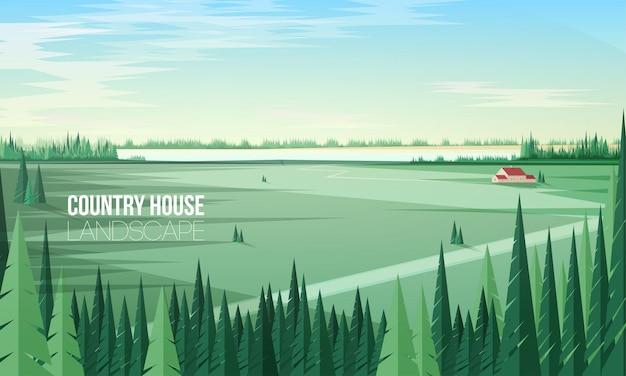 Magnífico paisaje rural con árboles de bosque de coníferas verdes en primer plano y edificio agrícola o casa de campo de pie en medio de un gran campo
