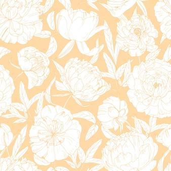 Magnífico patrón floral sin fisuras con flores de peonía floreciente dibujado a mano con líneas de contorno sobre fondo naranja.