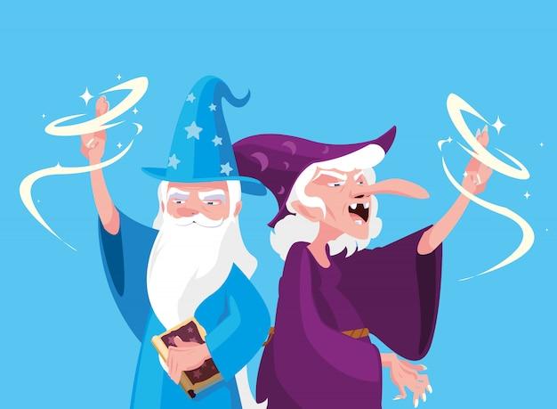 Mago con bruja de personaje de avatar de cuento de hadas