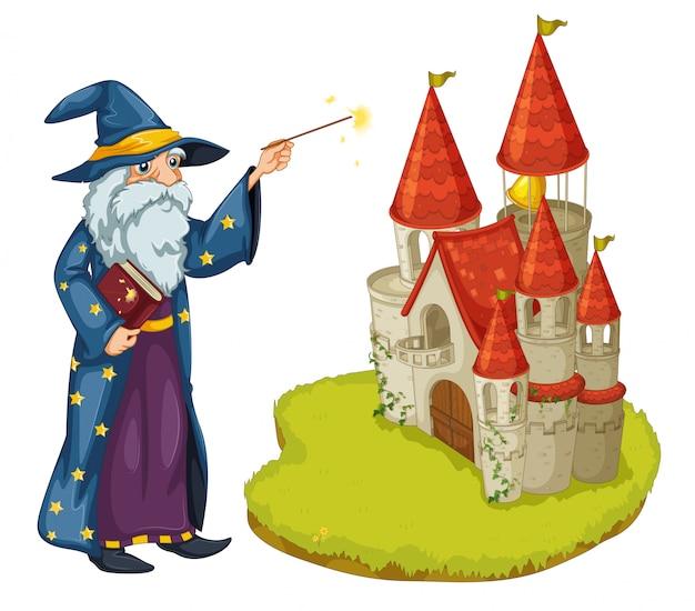 Un mago con un libro y una varita mágica frente al castillo.