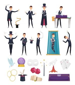Mago. muestre al artista intérprete o ejecutante en traje y tarjetas de artículos conejo en sombrero pañuelos mágicos tarjetas de varita dibujos animados de mazo de acero