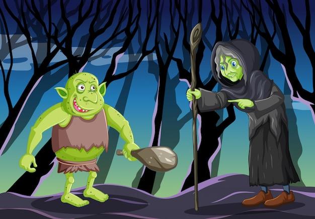 Mago o bruja con duende o troll sobre fondo de bosque oscuro