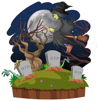 Mago o bruja con escoba y tumba en bosque oscuro aislado sobre fondo blanco.
