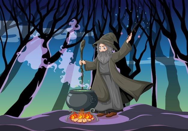 Mago o bruja con olla mágica en la escena del bosque oscuro