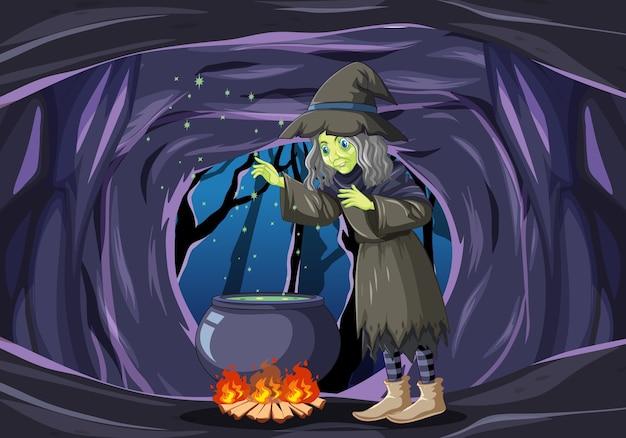Mago o bruja con olla mágica en la escena de la cueva oscura