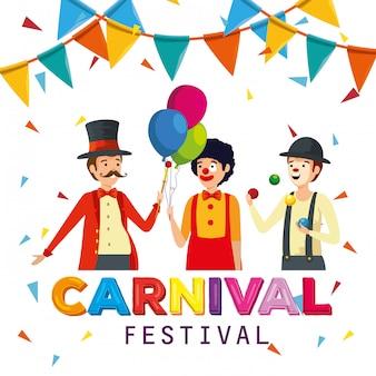Mago con payaso y mimo para celebración de carnaval con banner de fiesta