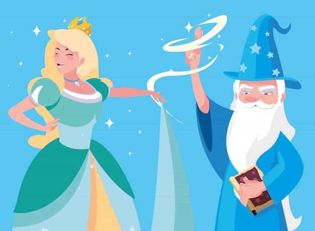 Mago con personaje de avatar de princesa de cuento de hadas