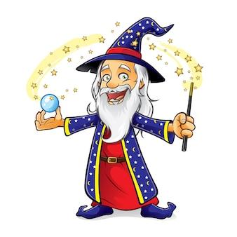 El mago sostiene una bola de cristal mientras agita su varita mágica y sonríe alegremente