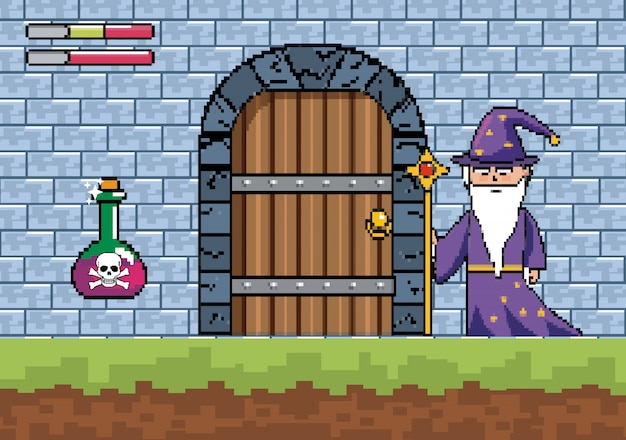 Mago con varita mágica y poción de peligro en la puerta del castillo.