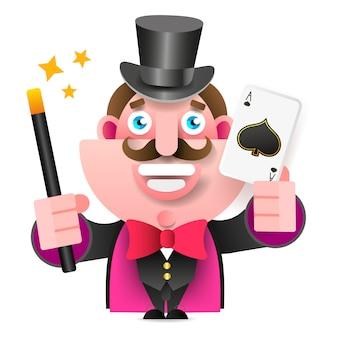 Mago con varita mágica y tarjeta en la mano ilustración vectorial