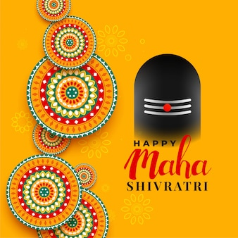 Maha shivratri festival saludo con ilustración shivling