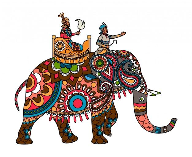 Maharajá indio en el elefante de color