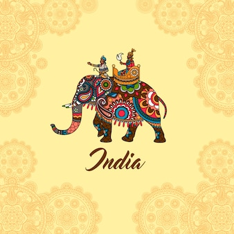 Maharaja indio en el ornamento de mandala de elefante