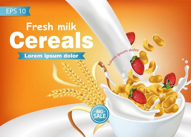Maíz copos de maíz en salpicaduras de leche realista