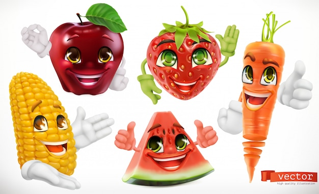 Maíz, manzana, fresa, sandía, zanahoria. divertidos personajes de dibujos animados. comida para niños