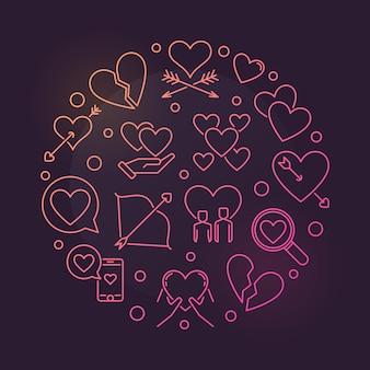Mal de amor alrededor de los iconos de contorno colorido