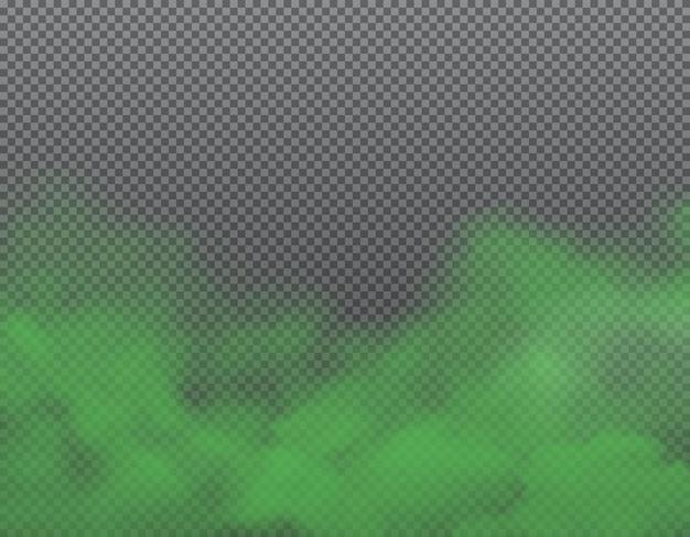 Mal olor verde, hedor y humo apestoso sobre fondo transparente