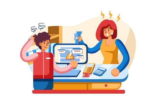 Mal servicio - concepto de sistema de pago