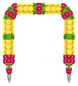 Mala india tradicional guirnalda de flores de pétalos de ugadi decoración de la boda