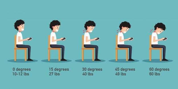 Las malas posturas del teléfono inteligente, el ángulo de flexión de la cabeza relacionado con la presión sobre la columna vertebral, la postura del cuerpo.