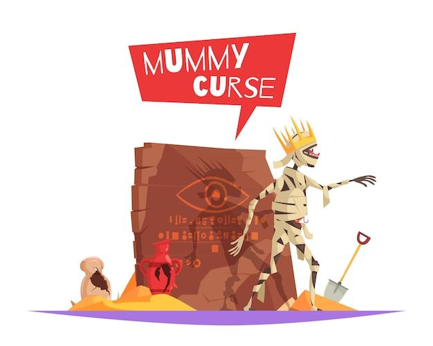 Maldición del personaje malvado de los faraones que causa mala suerte composición divertida de dibujos animados con momia perturbada caminando