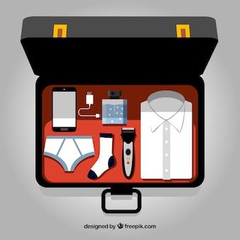 Maleta abierta con accesorios