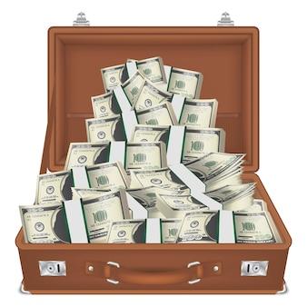 Maleta abierta con billetes de dólar dentro de vector