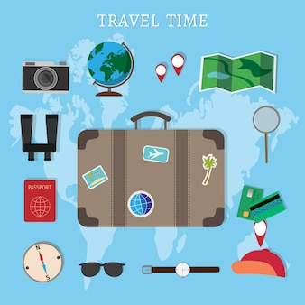 Maleta, cámara, pasaporte, brújula y binoculares del viajero, concepto de viaje