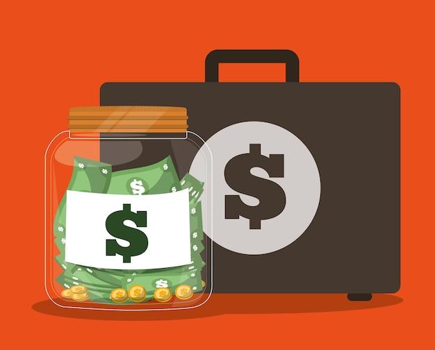 Maleta con la imagen de los iconos relacionados con la banca