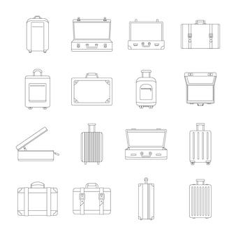 Maleta de viaje conjunto de iconos de equipaje