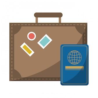 Maleta de viaje y pasaporte