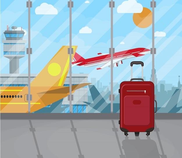 Maletas de viaje dentro del aeropuerto