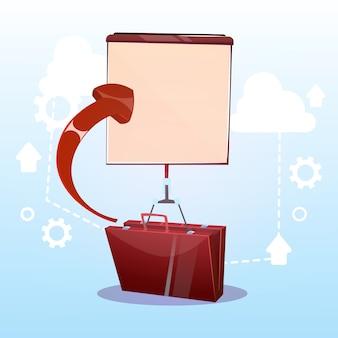 Maletín abierto con concepto de presentación de negocio de rotafolio