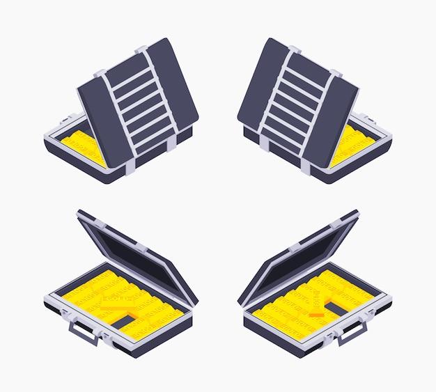 Maletín abierto isométrico con barras doradas.