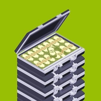 Maletín abierto isométrico con el dinero.