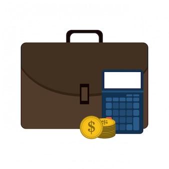 Maletín de negocios y calculadora