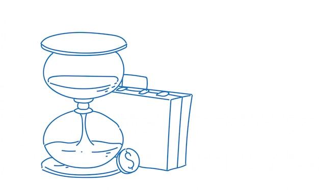 Maletín de negocios reloj de arena fecha límite bosquejo doodle