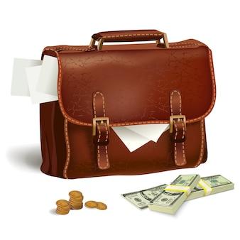 Maletín de piel con documentos y dinero.