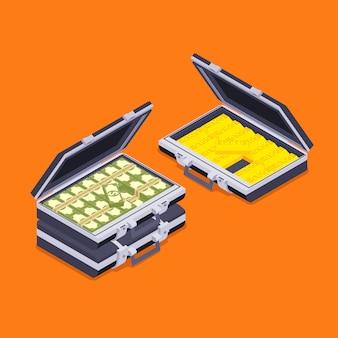 Maletines abiertos isométricos con las barras de oro y dinero contra el fondo naranja