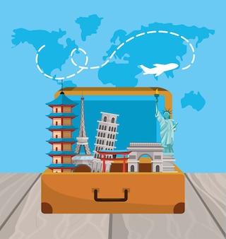 Maletines de viaje al viaje internacional global.