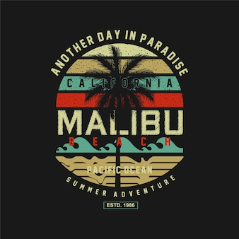 Malibu playa verano aventura ilimitado surf tipografía camiseta gráficos vectores