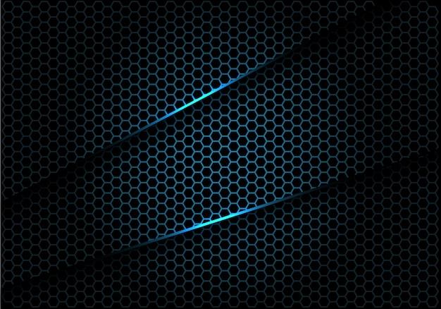 La malla azul del hexágono se superpone en el fondo de lujo negro.