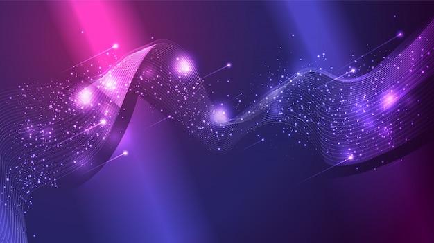Malla de onda abstracta, grupo de estrellas de brillo dispersas y cometa