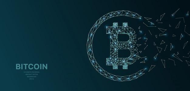Malla poligonal de alambre futurista con bitcoin