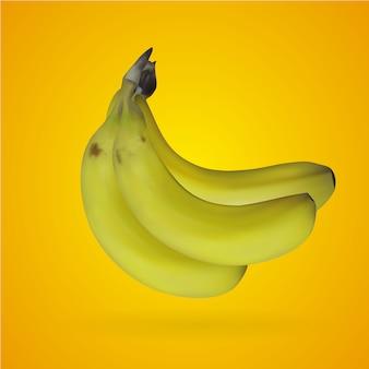Malla realista de banana con fondo amarillo
