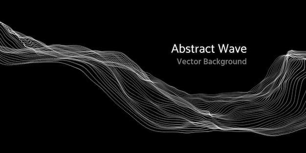 Malla red 3d abstracto onda y partículas vector de fondo