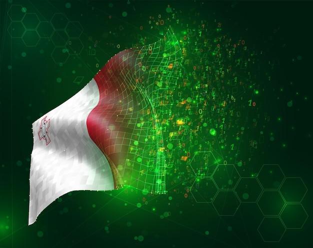 Malta, vector bandera 3d sobre fondo verde con polígonos y números de datos