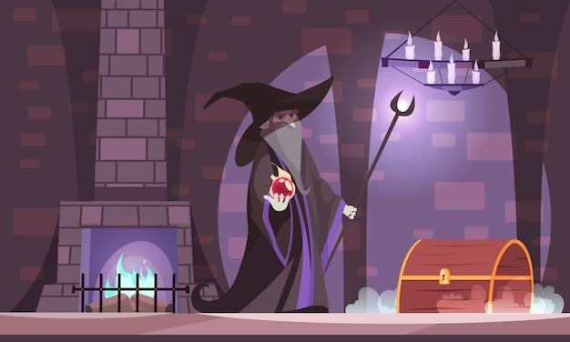 Malvado mago en el sombrero de bruja malvada con bola de poder cofre del tesoro en la cámara del castillo oscuro de dibujos animados