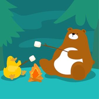 Malvavisco de oso y parrilla de pato en el vector de fogata